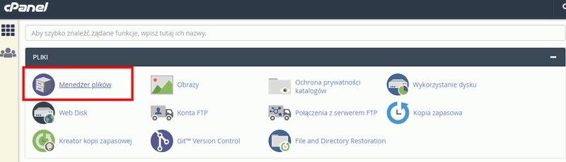 cpanel manager plikow